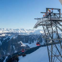 Die 3S Bahn verbindet die beiden Skigebietsteile