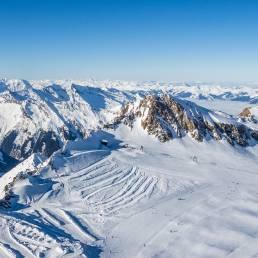 Blick vom Gipfel aufs Gletscher-Plateau
