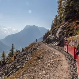Mini Eisenbahn mit traumhaftem Blick zum Mont Blanc